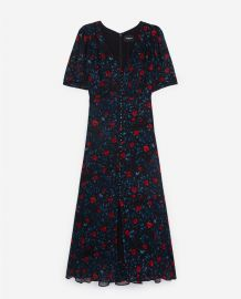 LONG NAVY BLUE DRESS WITH LONG SLEEVES at The Kooples