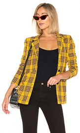 LPA Boxy Blazer in Mustard Plaid from Revolve com at Revolve