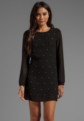 LUCCA COUTURE Grommet Long Sleeve Dress in Black at Revolve