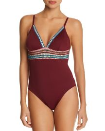 La Blanca Running Stitch One Piece Swimsuit at Bloomingdales