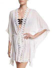 La Blanca Crochet Trim Kimono Coverup at Neiman Marcus