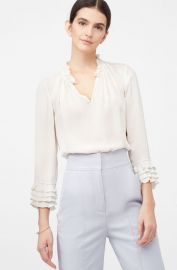 La Chemise Georgette Ruffle Blouse by Rebecca Taylor at Rebecca Taylor