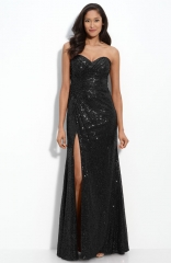 La Femme Strapless Sequin Gown in black at Nordstrom