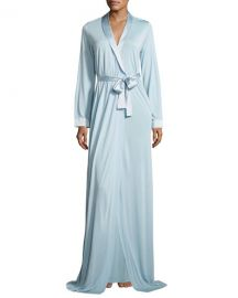 La Perla Airy Blooms Long Robe  Light Blue at Neiman Marcus