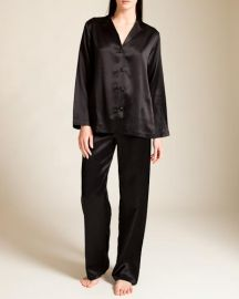La Perla Ivory Seta Pajamas in black at Nancy Meyer