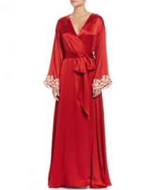 La Perla Maison Lace-Trim Long Robe  Red Gold at Neiman Marcus