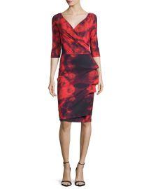 La Petite Robe di Chiara Boni 3 4-Sleeve Floral Tie-Dye Cocktail Dress  Winter Blossom Red at Neiman Marcus