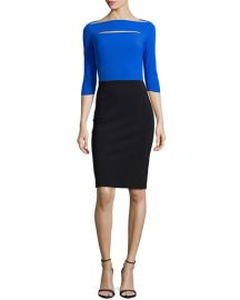 La Petite Robe di Chiara Boni Colorblock Cocktail Dress  Cobalt Black at Neiman Marcus