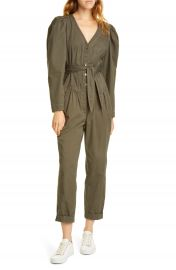 La Vie Rebecca Taylor Topstitch Detail Puff Sleeve Cotton Jumpsuit   Nordstrom at Nordstrom