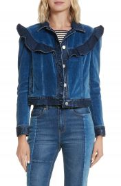 La Vie Rebecca Taylor Velvet Denim Jacket at Nordstrom