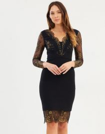 Lace Panel Pencil Dress at The Iconic