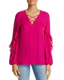 Lace Up Ruffle Trim Silk Blouse by Kobi Halperin at Bloomingdales