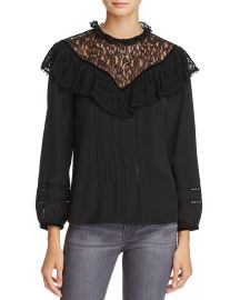 Lace & Ruffle Silk Top by Rebecca Taylor at Bloomingdales