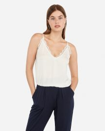 Lace Banded Bottom Cropped Cami at Express