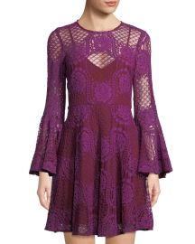Lace Bell-Sleeve Mini Dress by Donna Morgan at Last Call