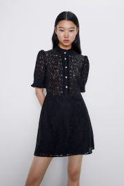 Lace Dress with Jewel Button by Zara at Zara