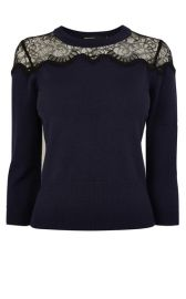 Lace Inset Knit Jumper at Karen Millen