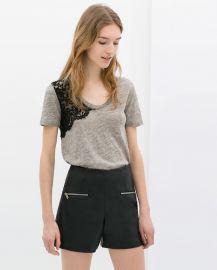 Lace Linen T-shirt at Zara