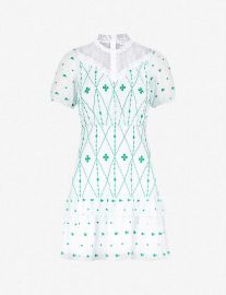 Lace-Panelled Embroidered Crepe Mini Dress by Sandro at Selfridges