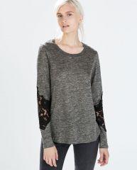 Lace Sleeve Linen Tshirt at Zara