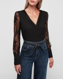 Lace Sleeve V-Neck Top at Express