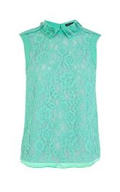 Lace Top with Hand Embellished Collar at Karen Millen
