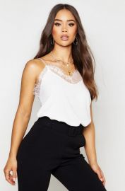 Lace Trim Strappy Cami Top at Boohoo