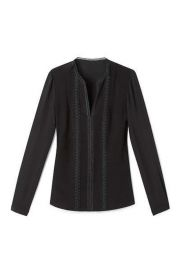 Lace Trim V-neck Blouse by Elie Tahari at Bloomingdales