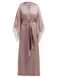 Lace-Trimmed Silk-Satin Kimono Robe by Carine Gilson at Matches