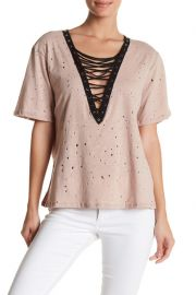 Lace-Up Deep V Tee by Gypsies & Moondust at Nordstrom Rack