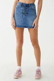 Lace-Up Denim Mini Skirt at Forever 21