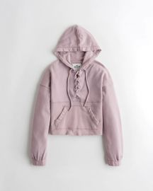 Lace Up French Terry Hoodie at Hollister