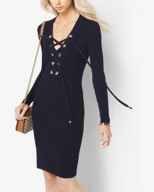 Lace-Up Ribbed Dress at Michael Kors
