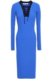 Lace-Up Ribbed-Knit Midi Dress by Diane von Furstenberg at The Outnet