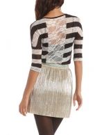 Lace back stripe tee at Charlotte Russe