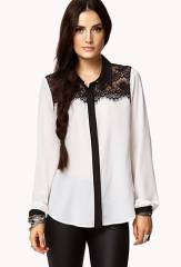 Lace contrast yoke blouse at Forever 21