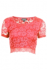 Lace crop tee by Topshop at Topshop