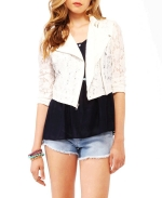 Lace cropped moto jacket at Forever 21 at Forever 21