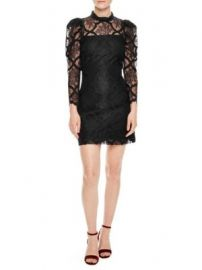 Lace dress with puff sleeves at Saks Fifth Avenue
