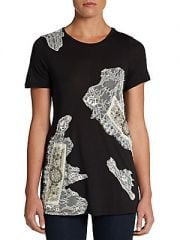 Lace embellished tee by Haute Hippie at Saks Off 5th