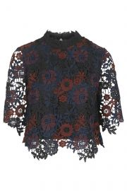 Lace high neck top at Topshop