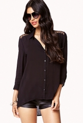 Lace inset blouse at Forever 21