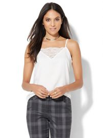 Lace inset camisole at NY&C