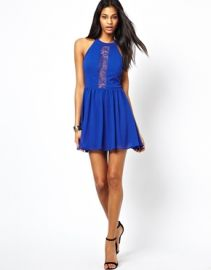 Lace inset halter dress at Asos