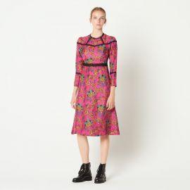 Lace-panelled printed silk midi dress at Selfridges