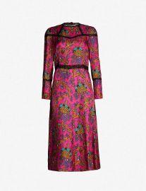 Lace-panelled printed silk midi dress by Sandro at Selfridges