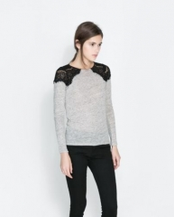 Lace shoulder tshirt at Zara