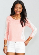 Lace sleeve top in pink at Delias