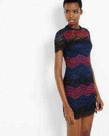 Lace stripe short sleeve dress at Express