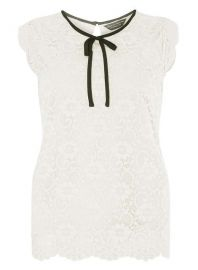 Lace tie neck top at Dorothy Perkins